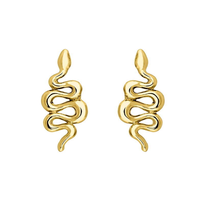 Gold snake earrings, J04010-02, hi-res
