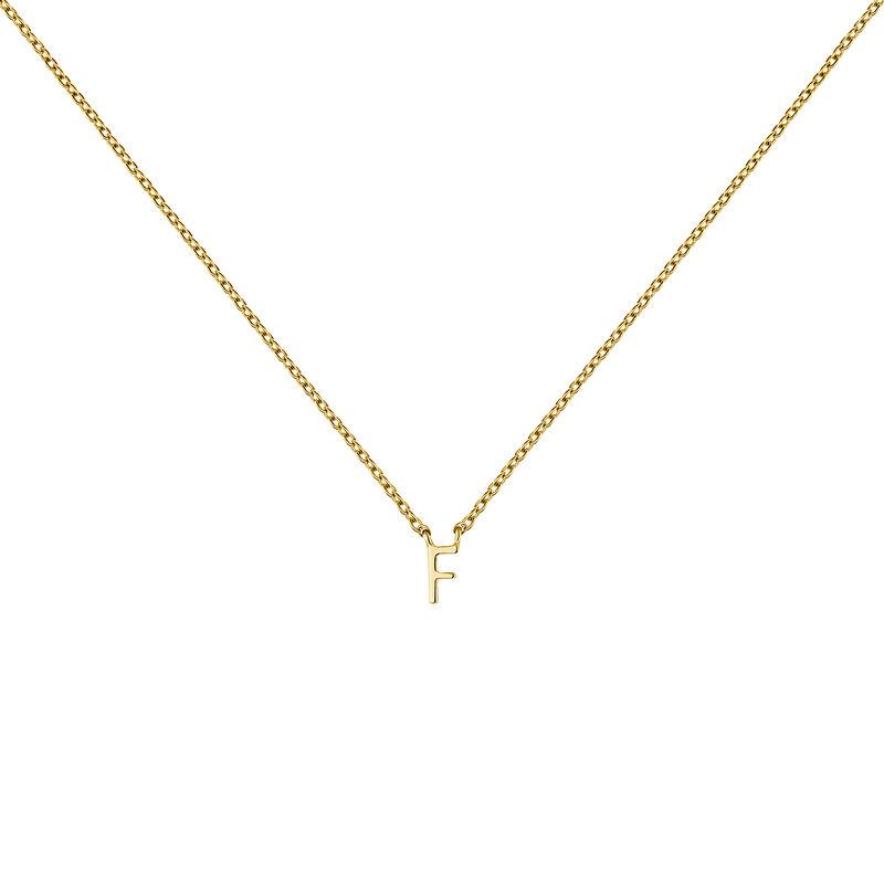 Gold Initial F necklace, J04382-02-F, hi-res