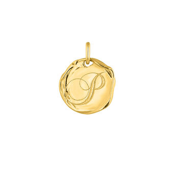 Colgante medalla inicial P plata recubierta oro, J04641-02-P, hi-res