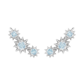 Silver climber earrings with diamonds and blue topaz, J03306-01-SKY-SP, hi-res