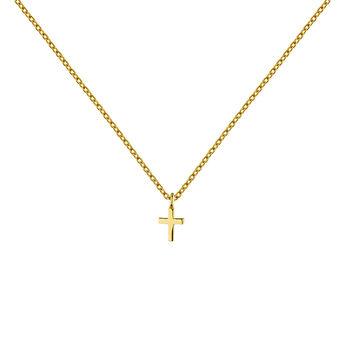 Collar charm cruz plata recubierta oro, J04862-02, hi-res