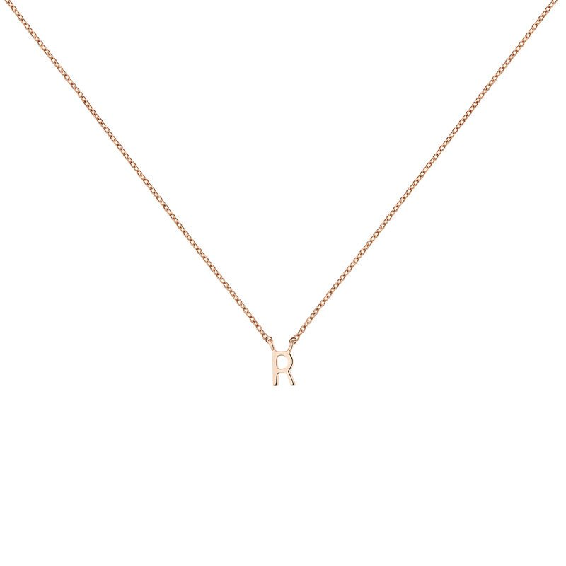 Rose gold Initial R necklace, J04382-03-R, hi-res