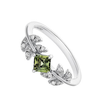 Silver Green Tourmaline Leaf Ring, J03707-01-GTU, hi-res