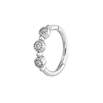 White gold three-diamond hoop earring, J03914-01-H, hi-res