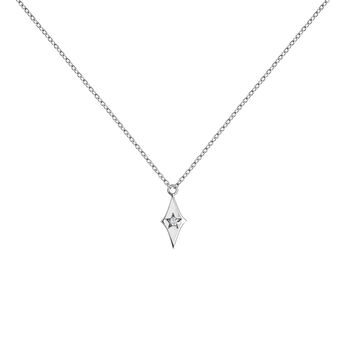 Collier étoile diamant or blanc, J03886-01, hi-res