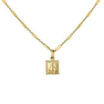 Gold plated square medal necklace, J04716-02, hi-res