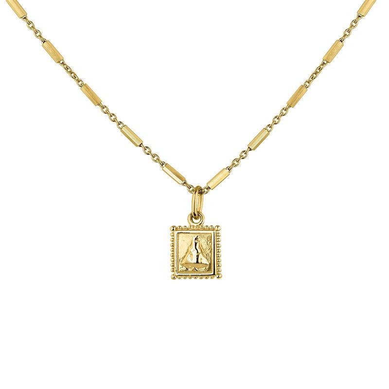 Collier médaille carrée argent plaqué or, J04716-02, hi-res