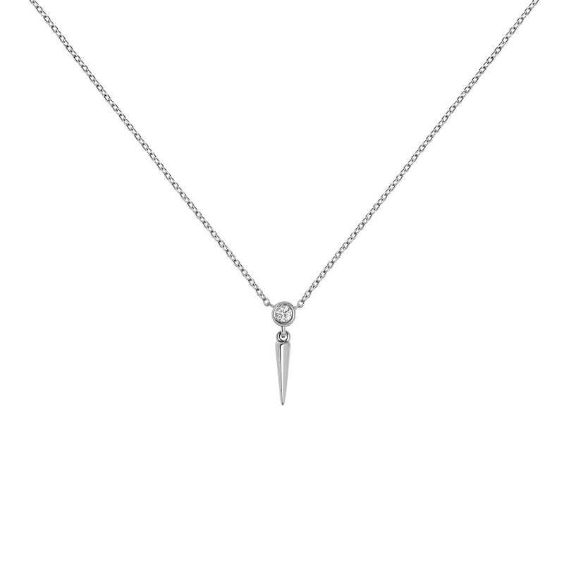 Collier pointe diamant or blanc 0,021 ct, J03885-01, hi-res