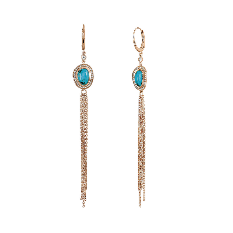 Large pink gold plated chrysocollas boho earrings, J04117-03-CH-WT, hi-res
