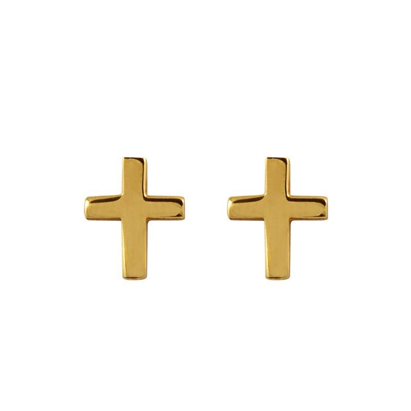 Pendientes cruz plata recubierta oro, J00865-02, hi-res