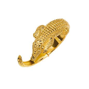 Bracelet fin crocodile argent plaqué or, J03015-02, hi-res