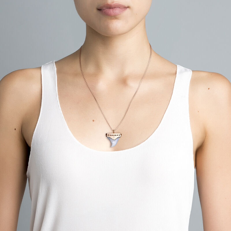 Rose gold plated silver fang necklace, J04392-03-BLA, hi-res