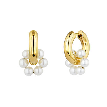 Gold plated silver pearl motif hoop earrings, J04731-02-WP, hi-res