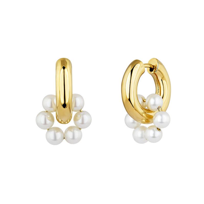 Pendientes aro motivo perla plata recubierta oro, J04731-02-WP, hi-res