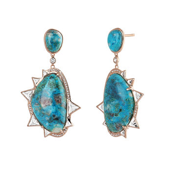 Large pink gold plated chrysocolla and topazes boho earrings, J04121-03-CH-WT, hi-res
