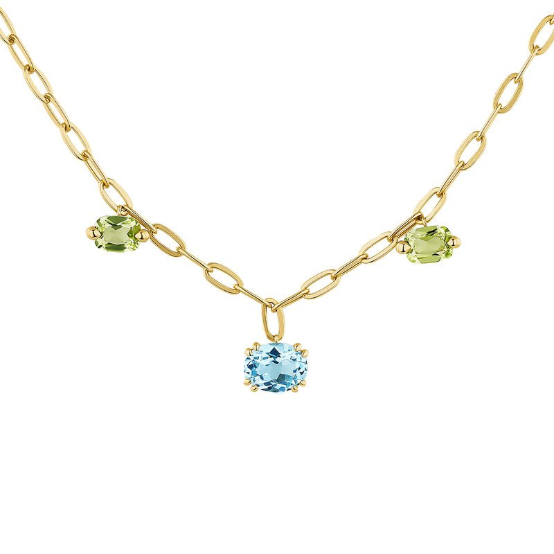 Gold plated stones motif necklace, J04683-02-SB-PD-CI, hi-res