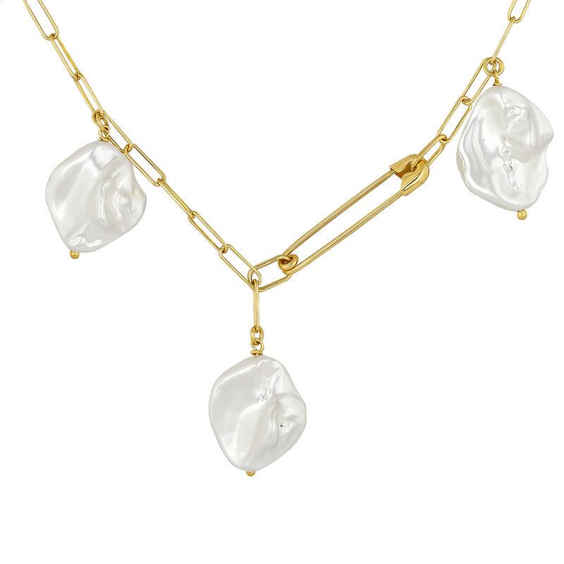 Collier épingle perles en argent plaqué or, J04575-02-WP, hi-res