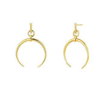 Small gold plated half-moon hoop earrings, J04281-02, hi-res