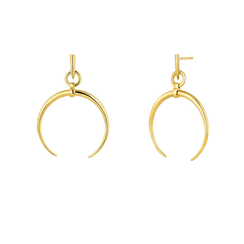 Small gold plated half-moon hoop earrings, J04281-02, hi-res
