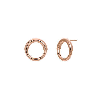 Small rose gold hoop earrings, J03651-03, hi-res