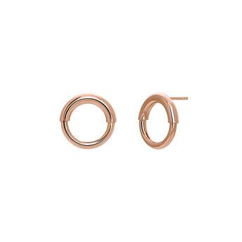 Small rose gold hoop earrings, J03651-03, hi-res