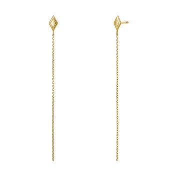 Gold rhombus chain earrings, J03623-02, hi-res