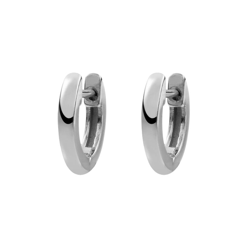 Small silver simple hoop earrings, J01444-01, hi-res