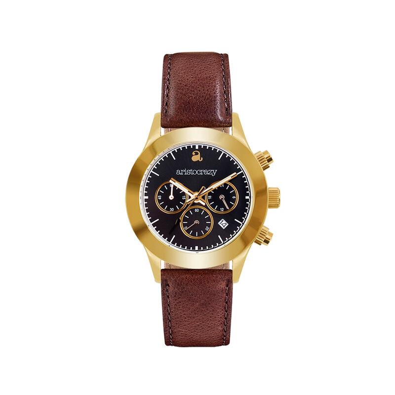 Soho watch brown strap black face., W29A-YWYWBL-LEBR, hi-res