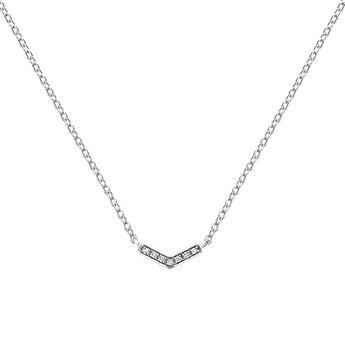 Silver v-shape necklace with topaz, J03293-01-WT, hi-res