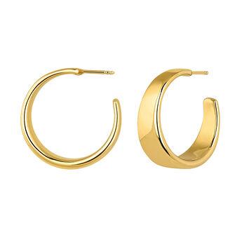 Wide gold plated flat hoop earrings , J04216-02, hi-res