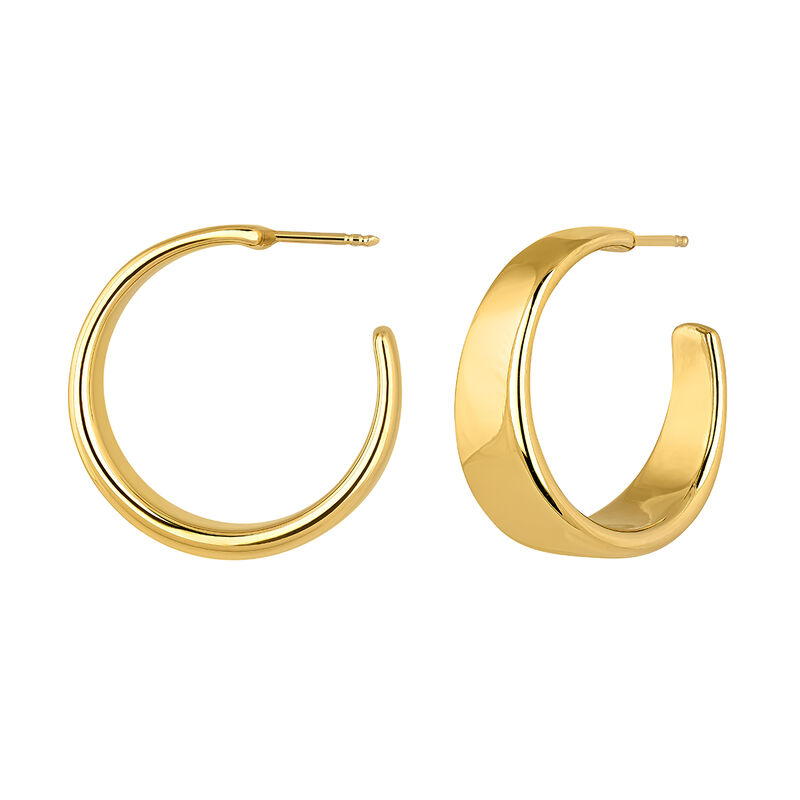 Wide gold plated flat hoop earrings, J04216-02, hi-res