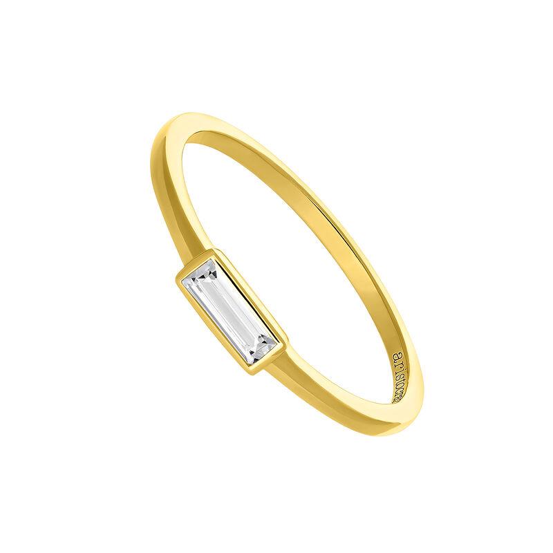 Anillo topacio blanco rectangular  plata recubierta oro, J03699-02-WT, hi-res