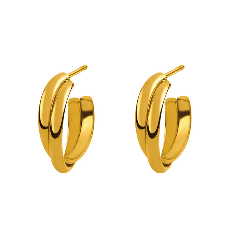 Gold plated cross double hoop earring, J01756-02, hi-res