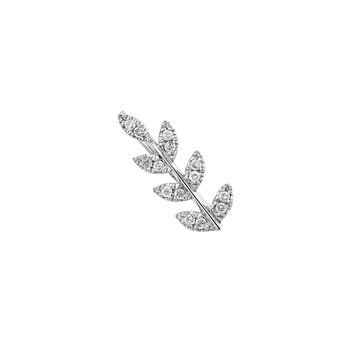 Boucle d'oreille feuille diamants argent, J03709-01-GD-R, hi-res