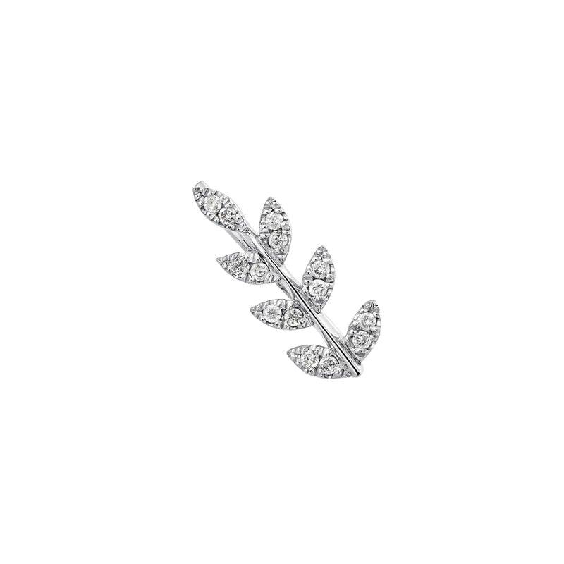Pendiente derecho hoja diamante plata, J03709-01-GD-R, hi-res