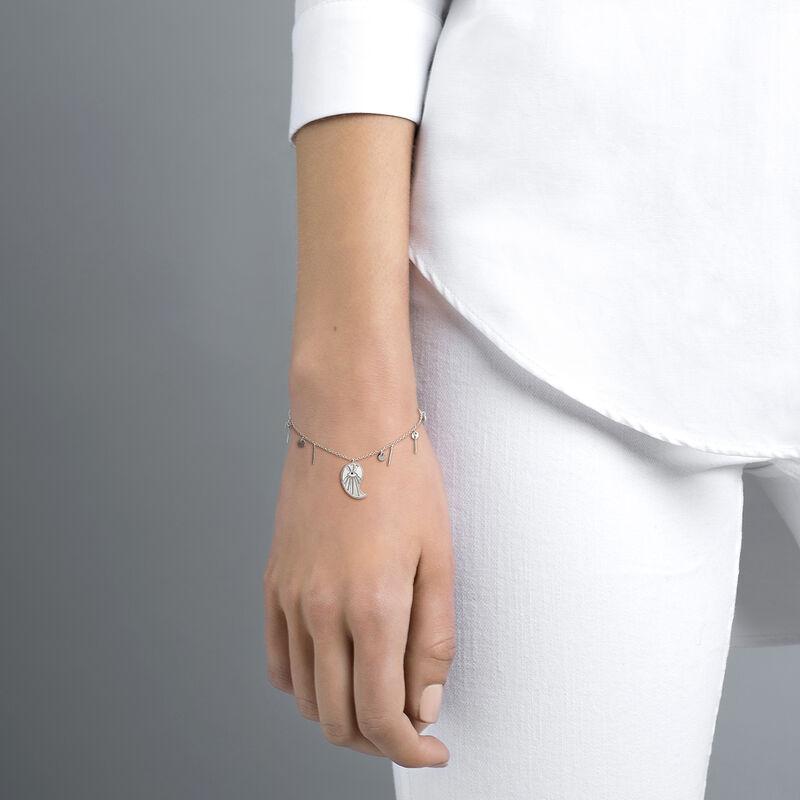 Silver cashmere pendant bracelet with spinels , J04136-01-BSN, hi-res