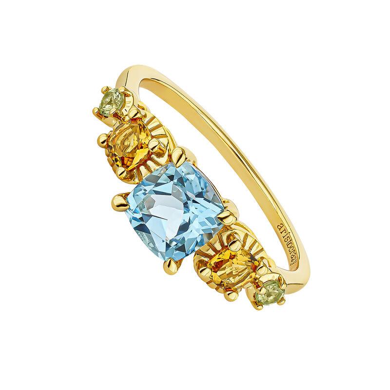 Gold plated stones ring, J04678-02-SB-CI-PD, hi-res