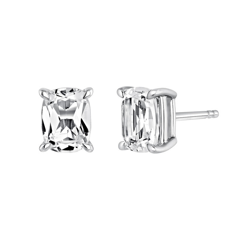 Rectangular silver earrings with topaz, J03761-01-WT, hi-res
