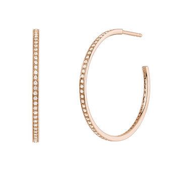 Boucles d'oreilles créoles topaze or rose, J04030-03-WT, hi-res