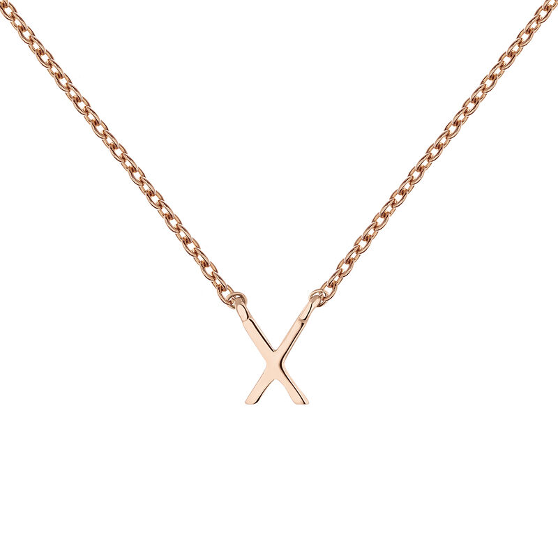 Collier initiale X or rose, J04382-03-X, hi-res