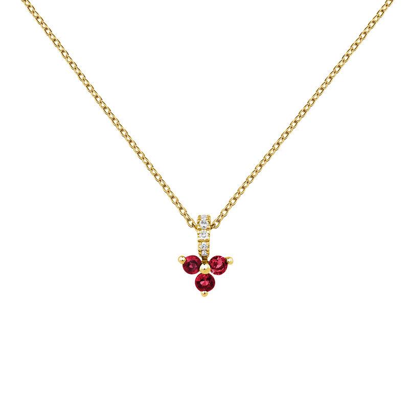 Colgante trébol rubí y diamante oro, J04080-02-RU, hi-res