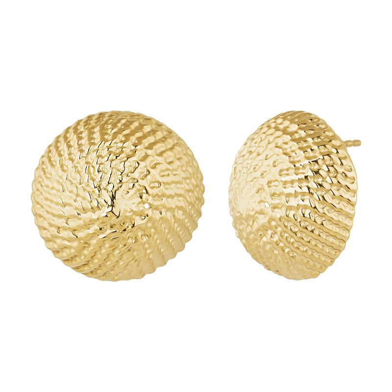Maxi gold plated button wicker earrings, J04414-02, hi-res