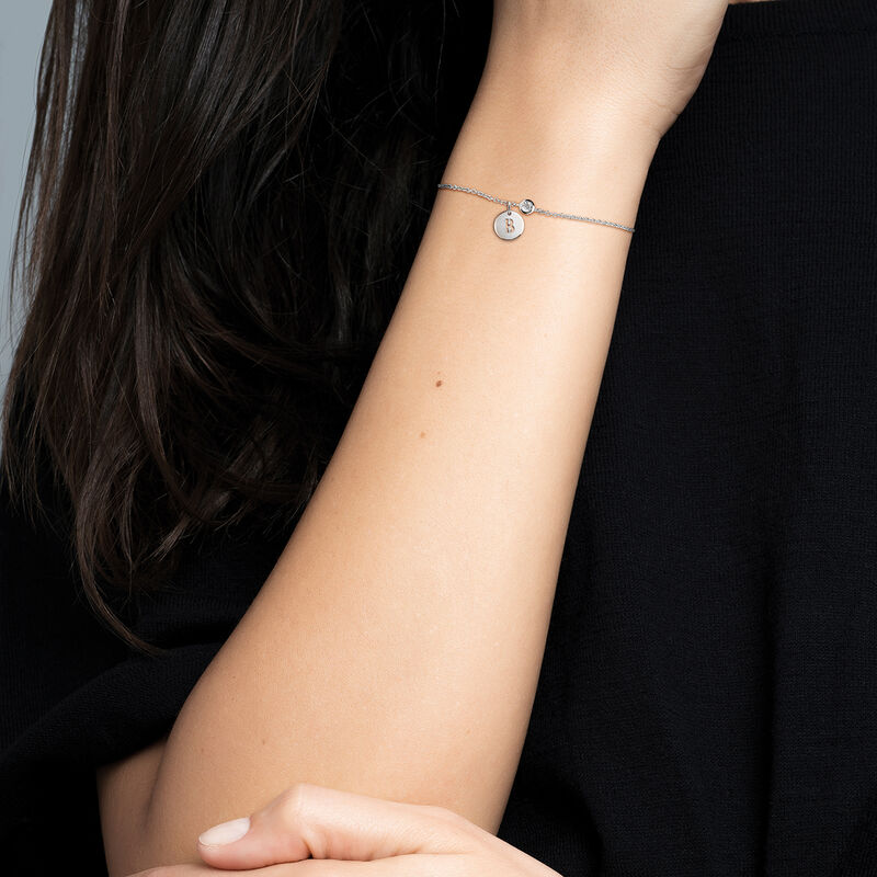 Silver B letter necklace, J03455-01-B, hi-res