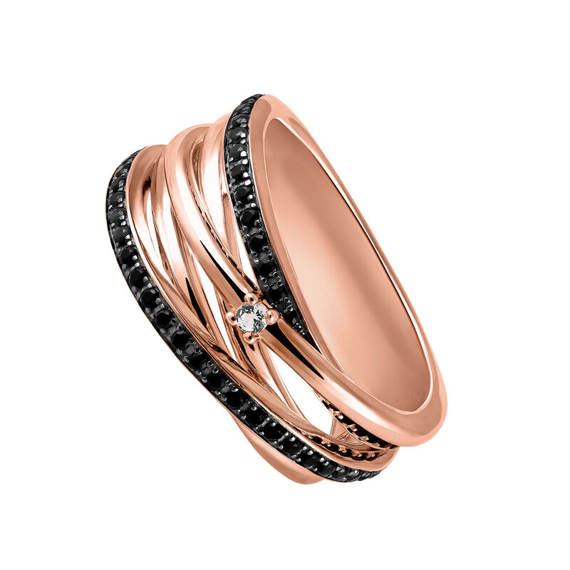 Anillo múltiple plata recubierta oro rosa, J03351-03-BSN-WT, hi-res