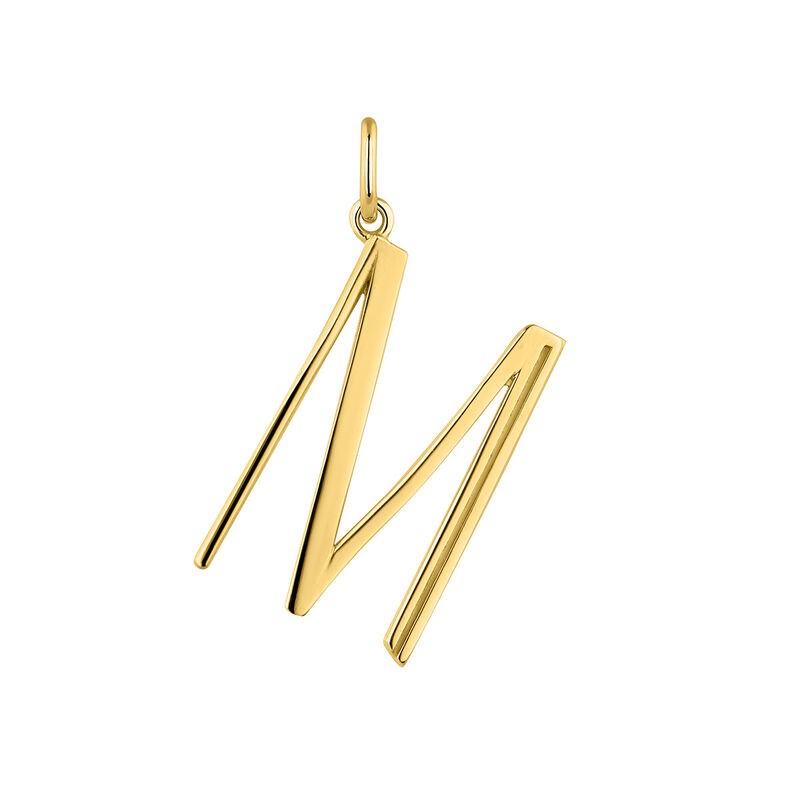 Large gold plated initial M , J04642-02-M, hi-res