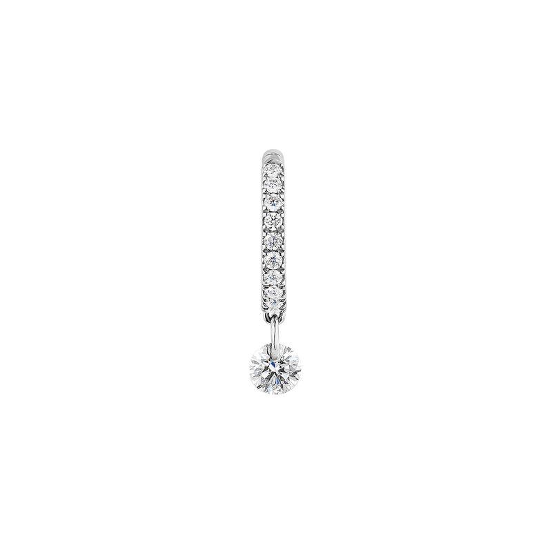 Pendiente aro motivo diamante 0,12 ct oro blanco, J04425-01-H, hi-res