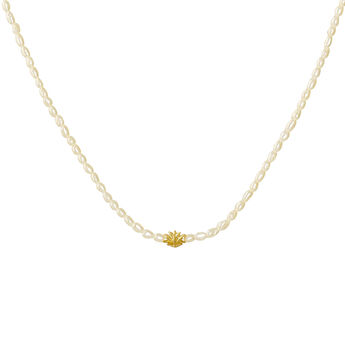 Collar motivo flor perla plata recubierta oro, J04455-02-WP, hi-res