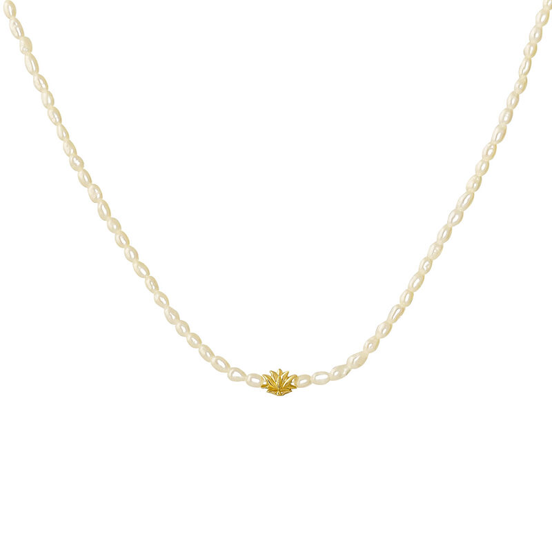 Gold plated silver pearl flower motif necklace, J04455-02-WP, hi-res