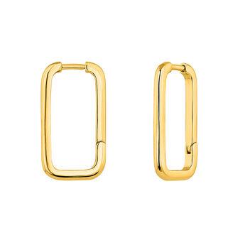 Boucles d'oreilles rectangulaires argent plaqué or, J04644-02, hi-res