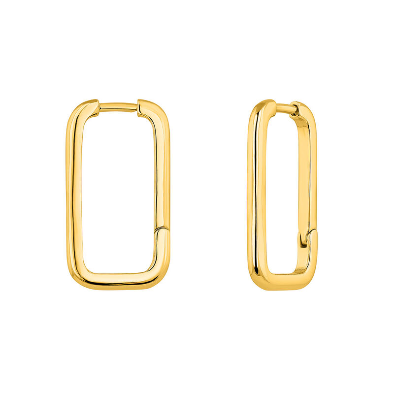 Rectangular gold plated earrings, J04644-02, hi-res